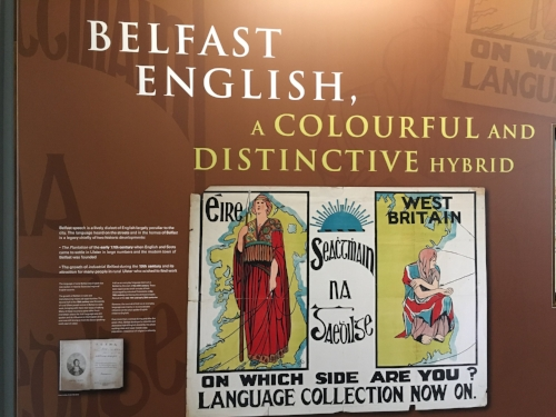 An exhibit on Belfast-English in Belfast City Hall.