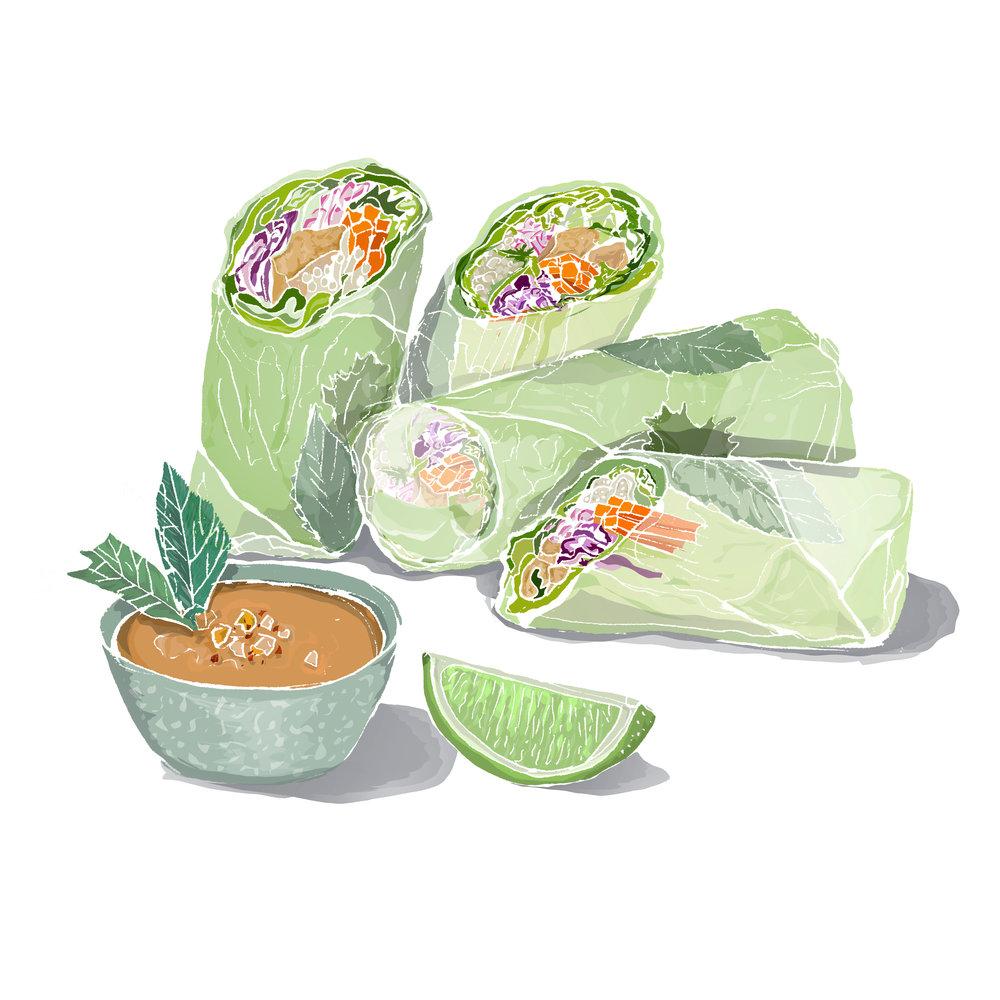 Tofu summer rolls with peanut sauce