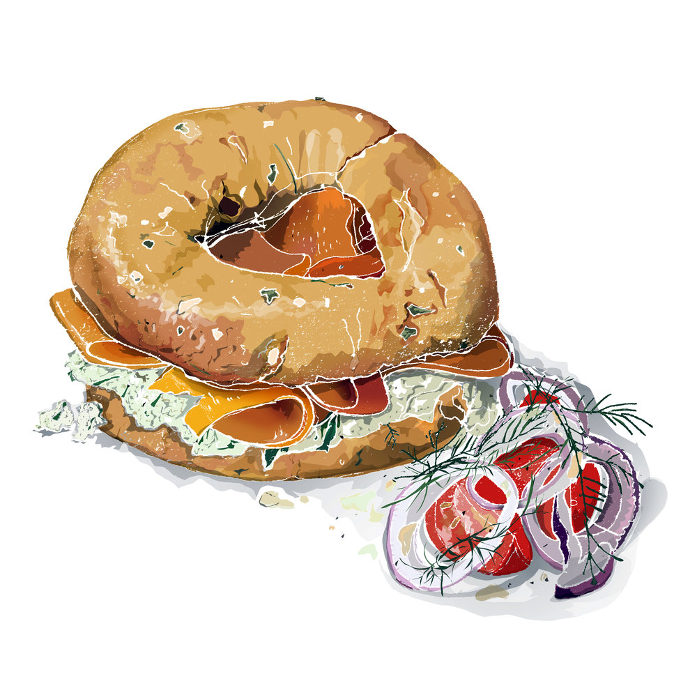 Smoked Carrot Lox jalapeno bagel - The Bagelry, Liverpool