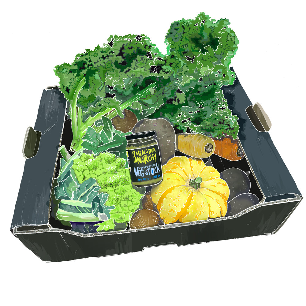 The Natural Veg Men weekly box, with Uncorrupted Veg Stock