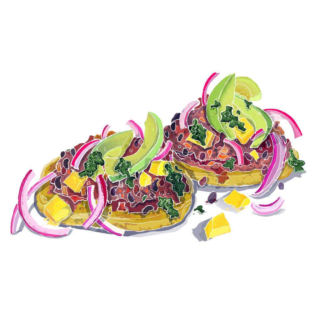 Colombian areas with black beans & salsa