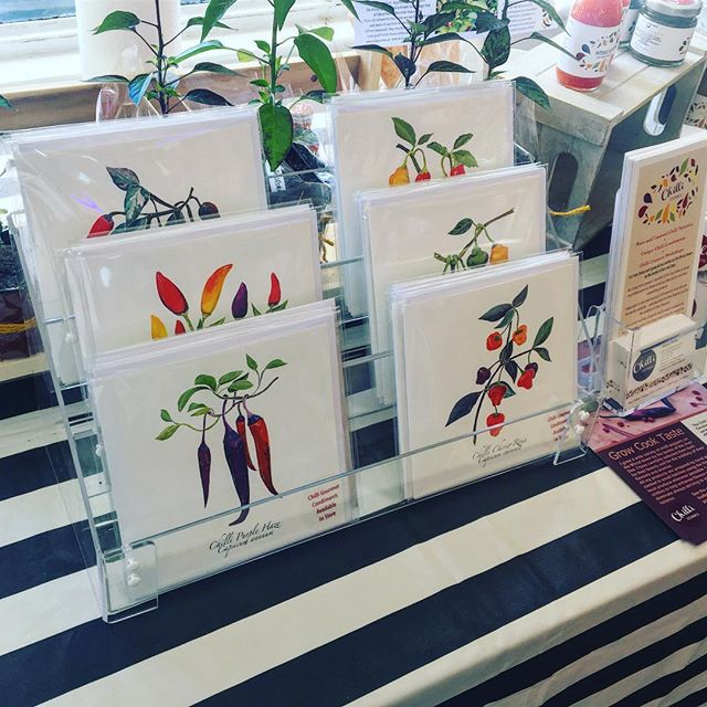Lovely to see @chilligourmets yesterday @greensofoxton 🌶 and exciting to see the cards I illustrated for Janey on display! Hope it was a successful tasting day! 🙂