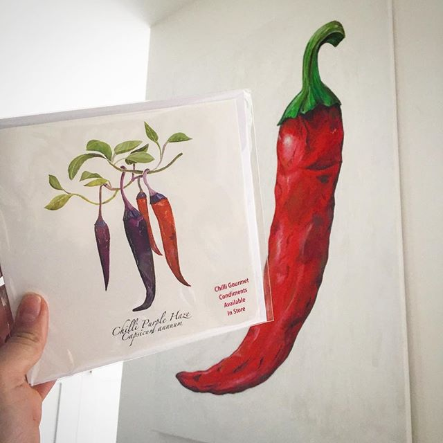 My chilli painting is looking very similar to my purple haze illustration...minus the purple stalk! 🌶