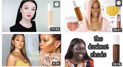 Various reviews from beauty bloggers on YouTube; these four videos alone have over 6 million accumulative views.