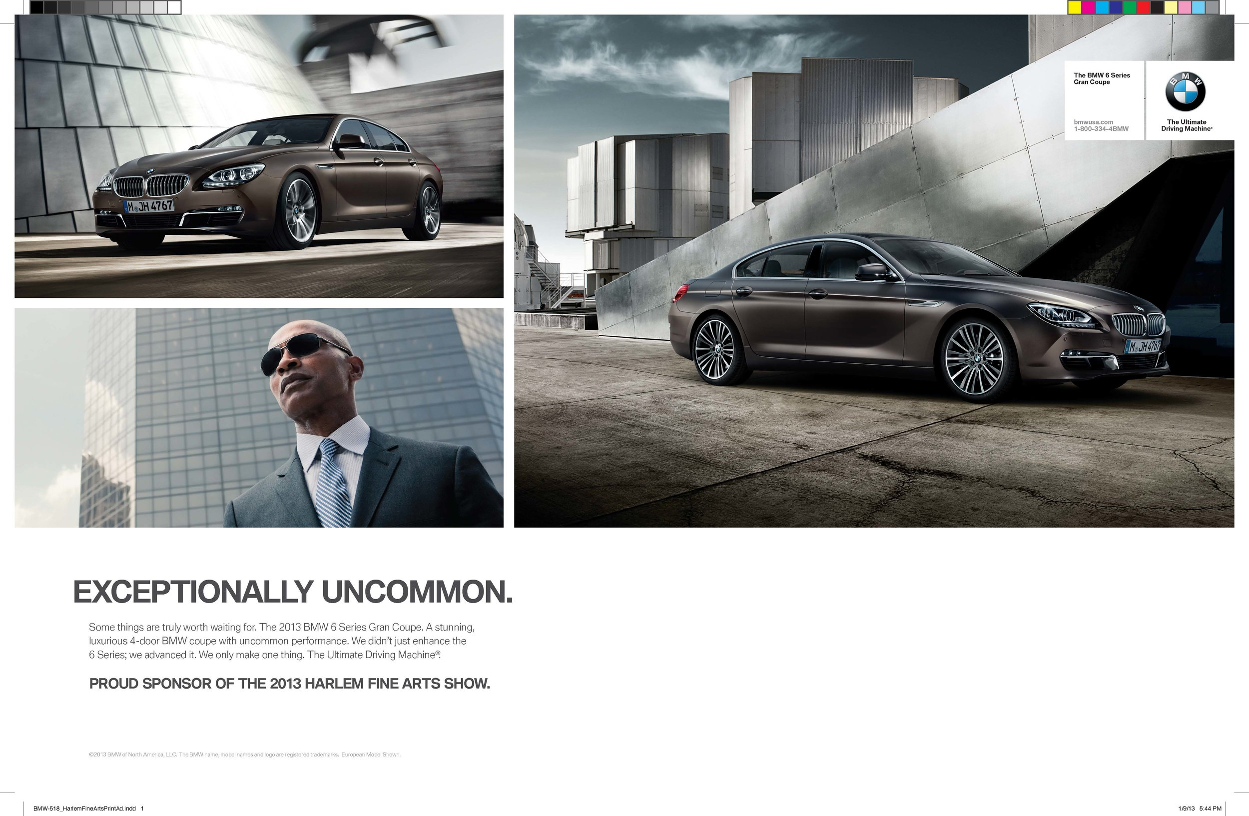 BMW 6 Series Gran Coupe Multicultural Inside Cover Spread in Harlem Fine Arts