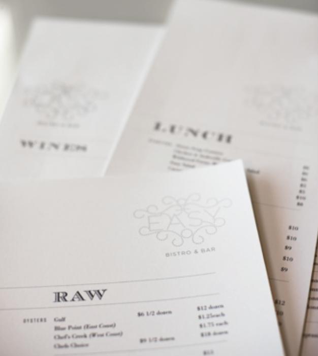 Easy Bistro & Bar - Chattanooga, TN - Graphic Design for Menu