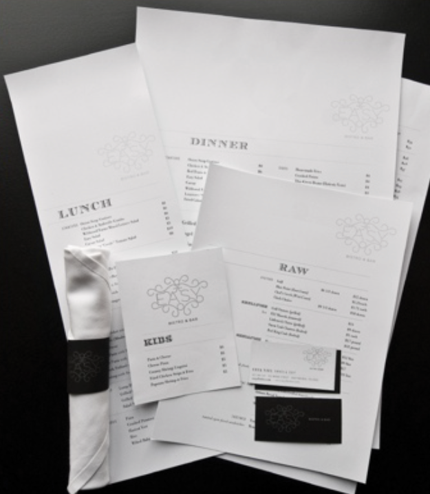 Menu Design for Easy Bistro & Bar - Part of their Identity Design and Branding