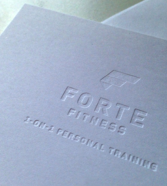 Forte Fitness letterpress embossed business card