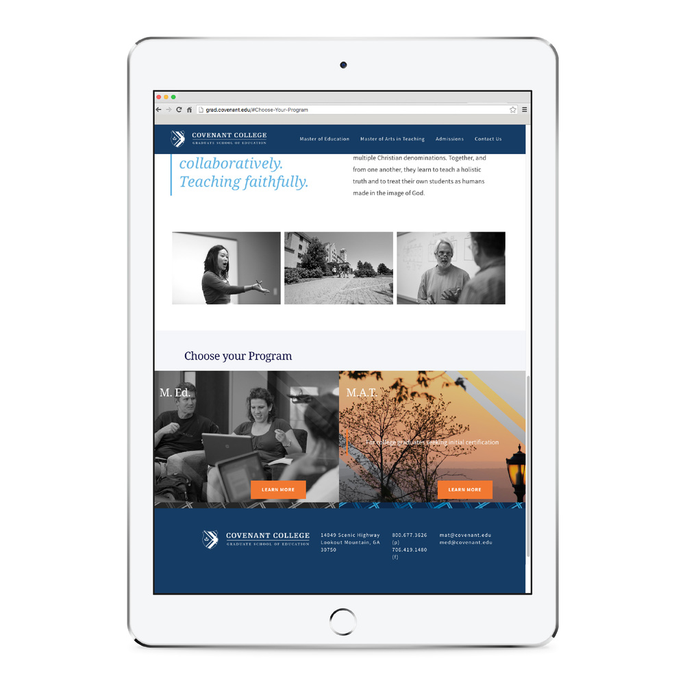 Covenant College Website Design mock up mobile
