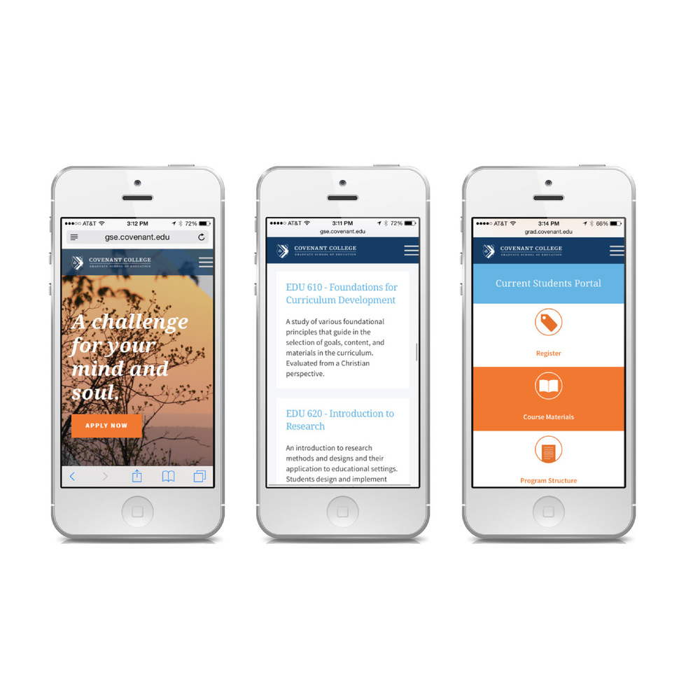 Copy of Covenant College iphone mock up mobile website