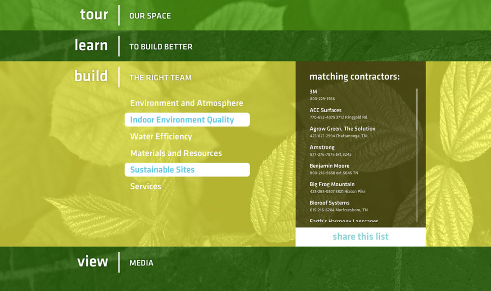 Green Spaces Media Interface screenshot