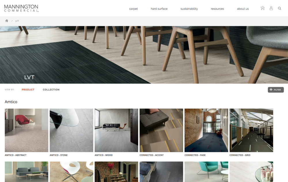 Mannington Commercial website mock up