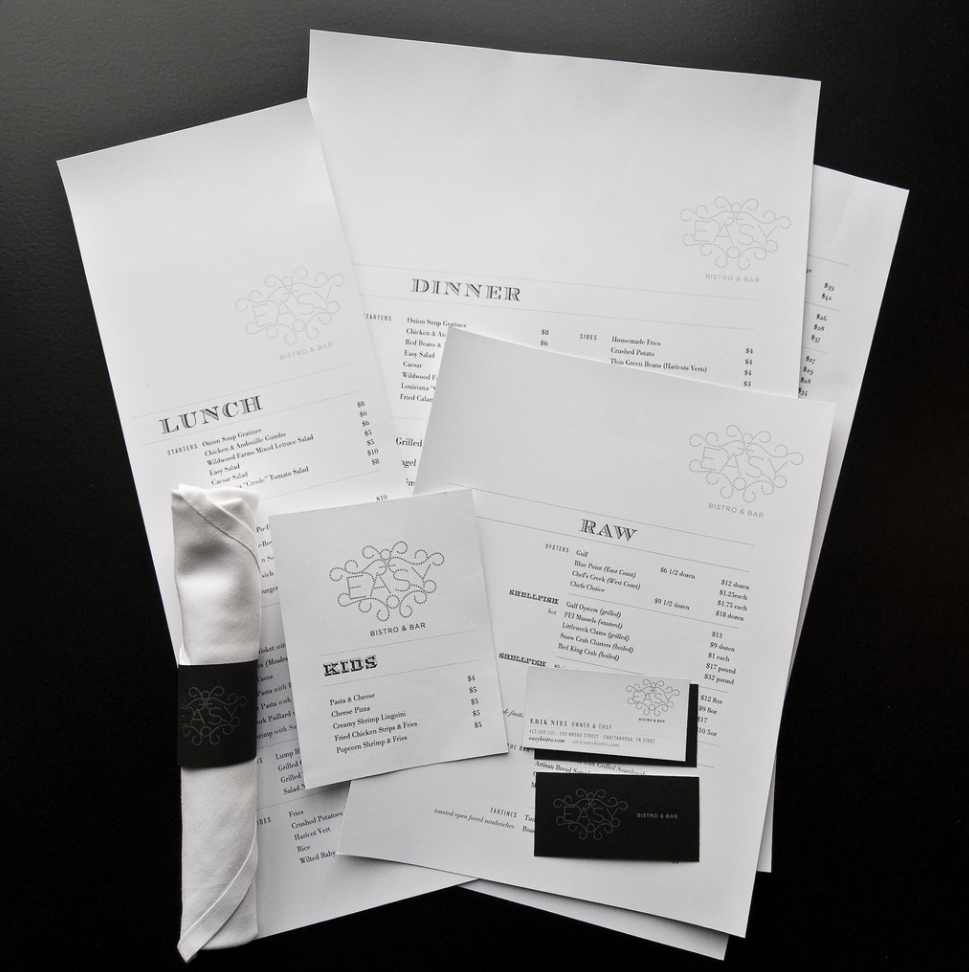 Easy Bistro & Bar Designed print menus