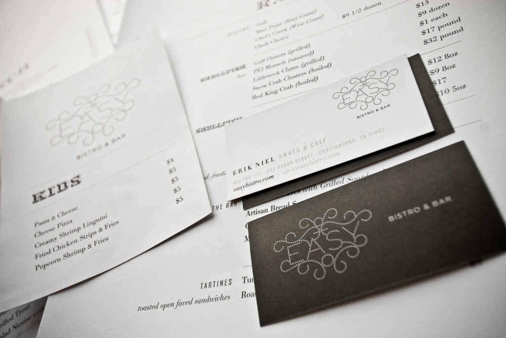 Easy Bistro and Bar Graphic Designed Business Cards and Menus