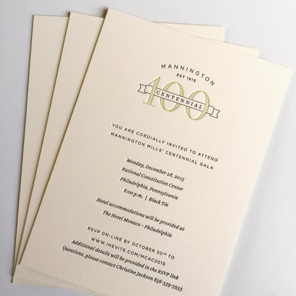 Mannington designed letterpress invitation
