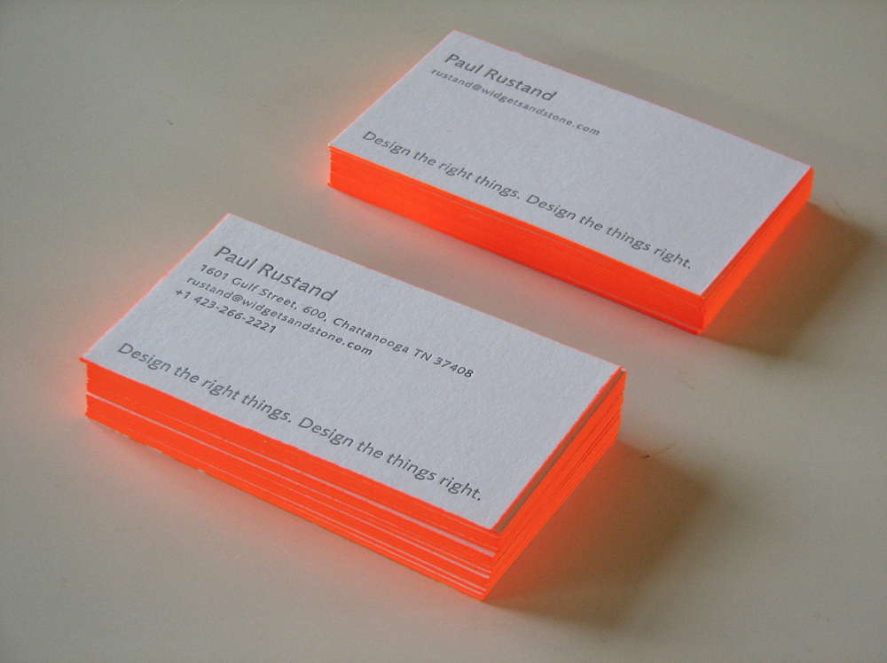 Widgets and Stone letterpress business cards typography design