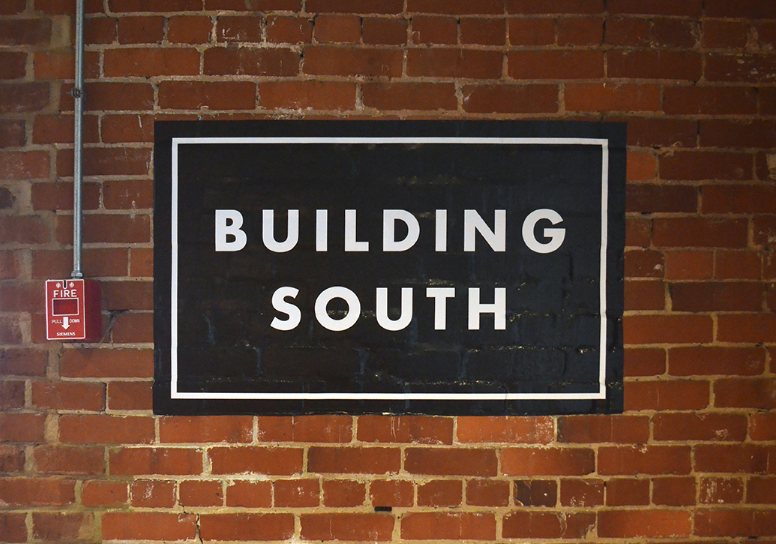 Building South Warehouse Row Typographic Sign
