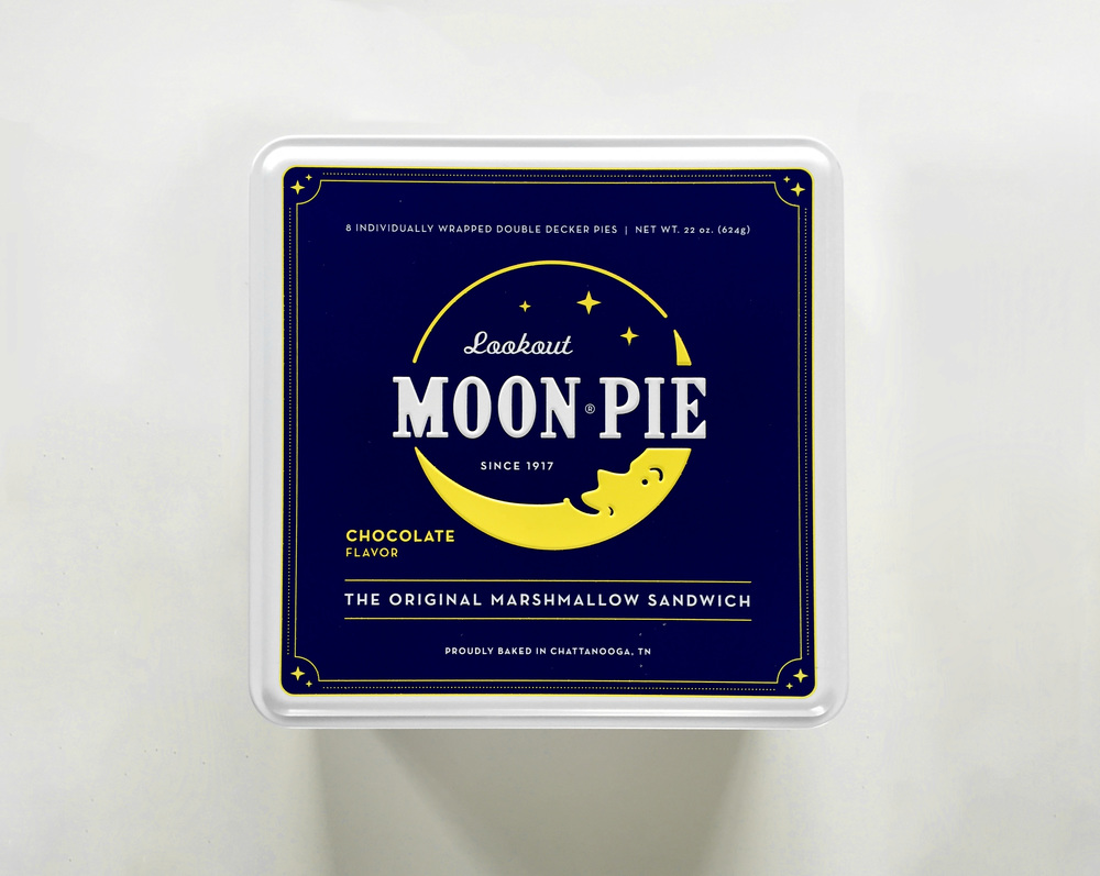Moon Pie graphic design printed tins