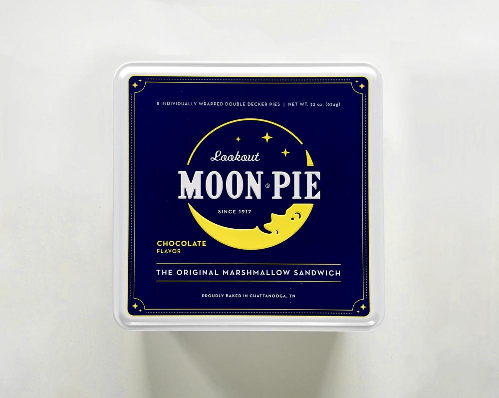 Moon Pie graphic design printed tins