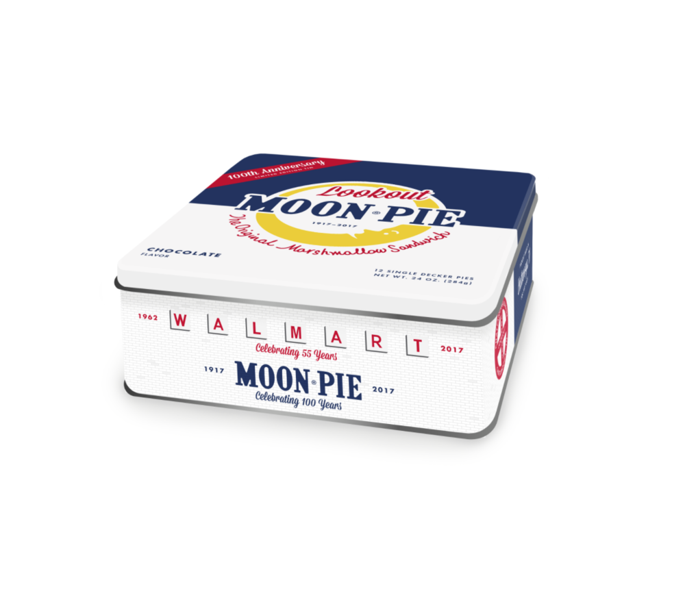 Moon pie tins illustrated graphic package design