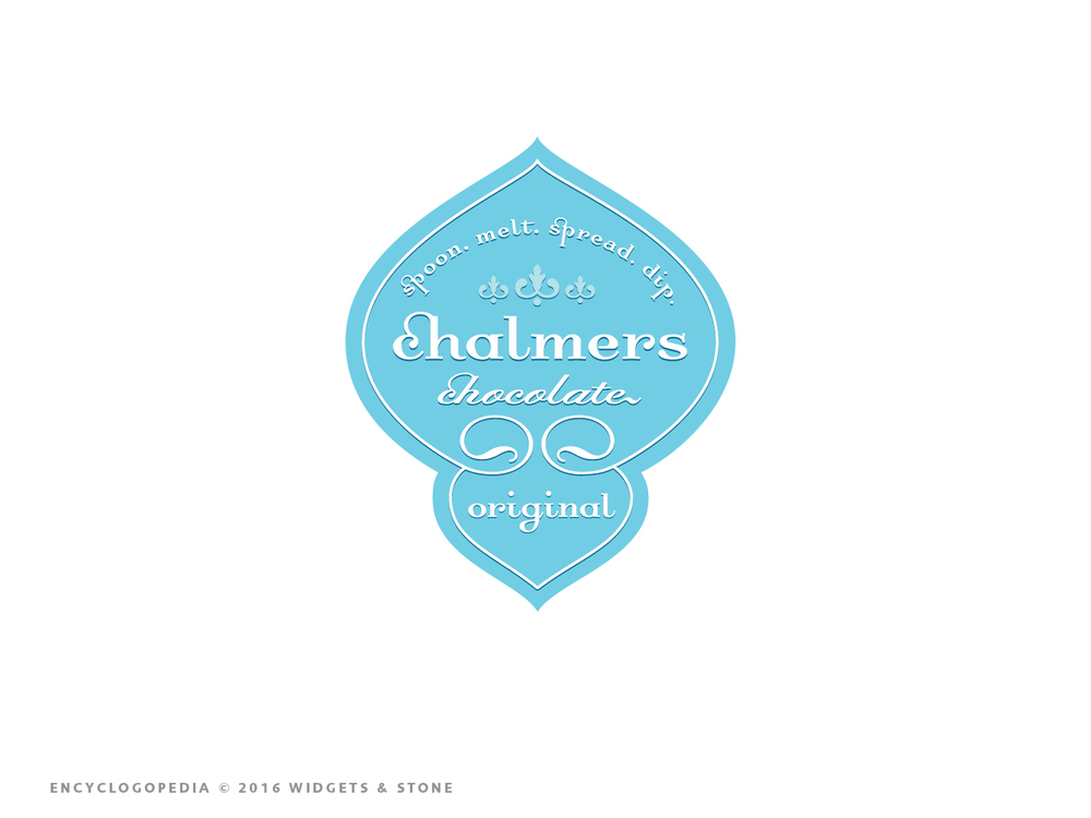 Copy of Chalmers Chocolates illustrated logo mark graphic design