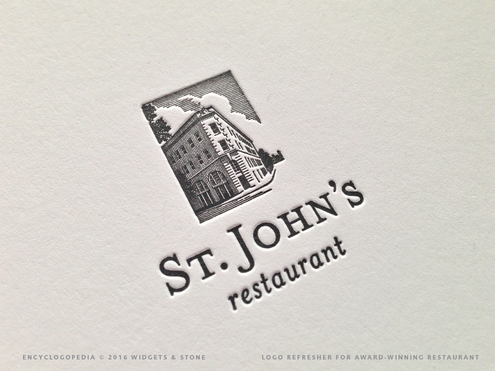 Copy of St. John's Restaurant logo application letterpress detail