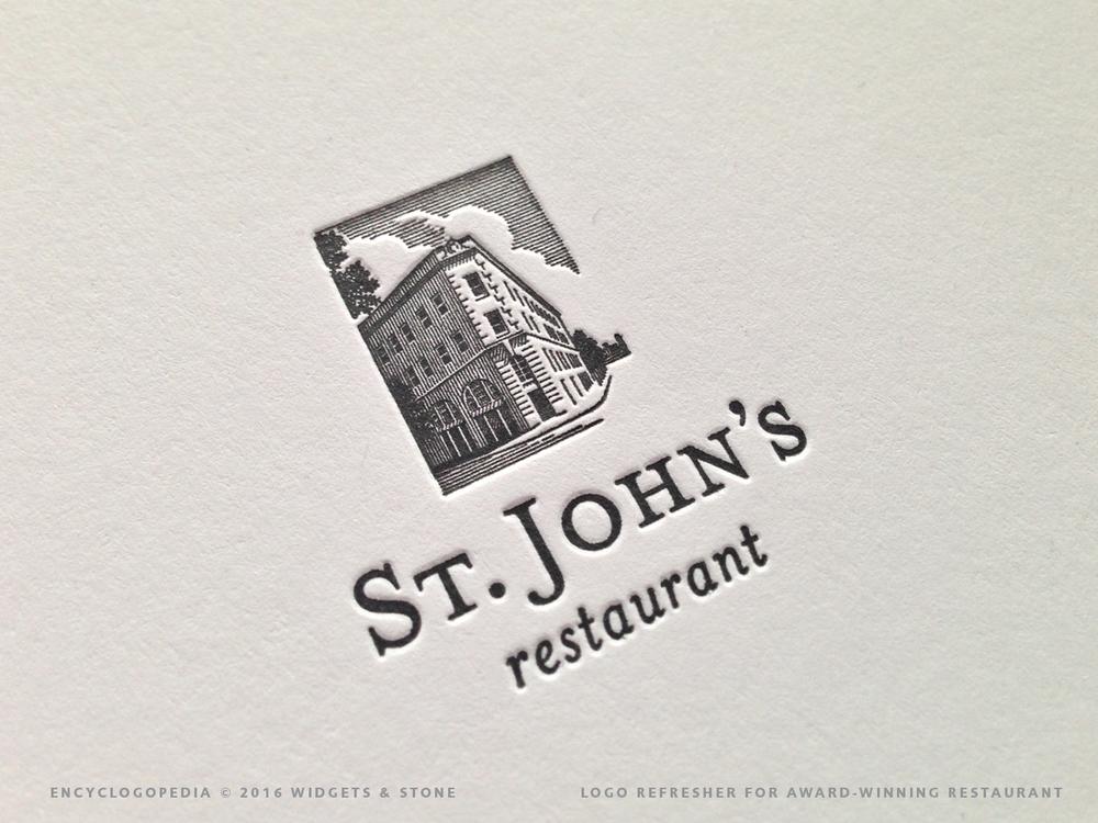 St. John's Restaurant logo application letterpress detail