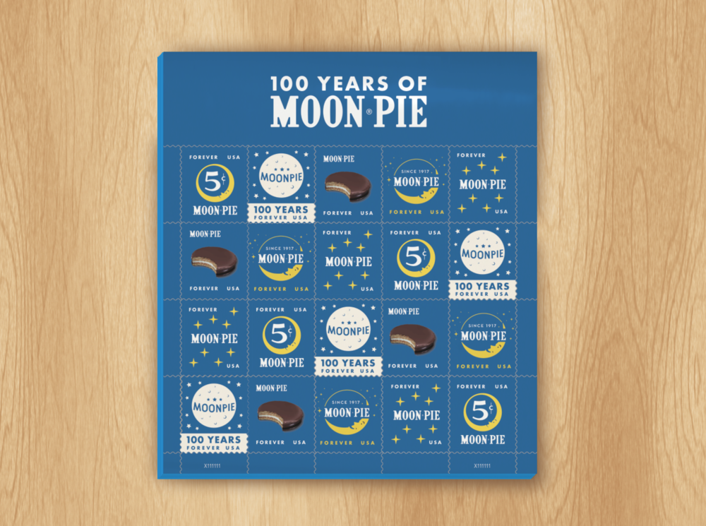Moon pie stamps illustration design typography