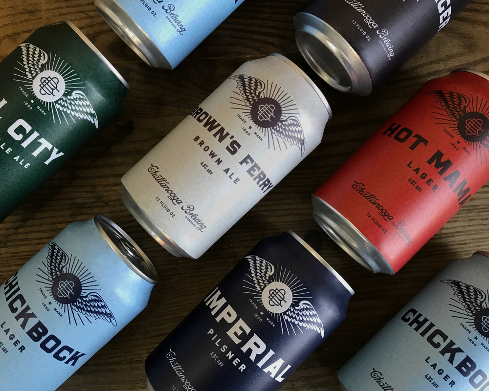 Chattanooga Brewing Company Branded Beer Cans