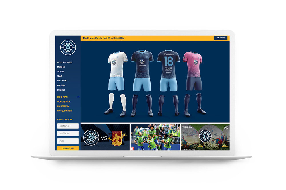 Chattanooga Football Club Digital Homepage Mock up