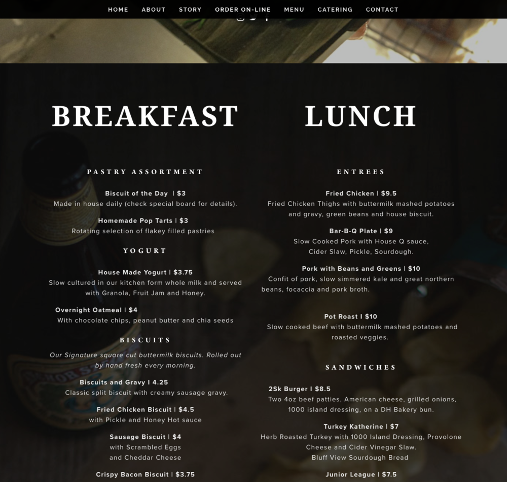 2 Sons Kitchen Market Website Menu Breakfast Lunch