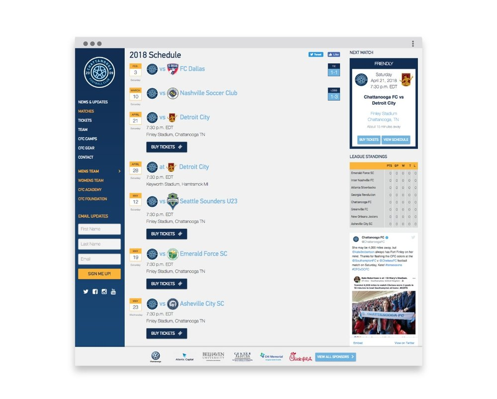 Chattanooga FC Site Design CFC