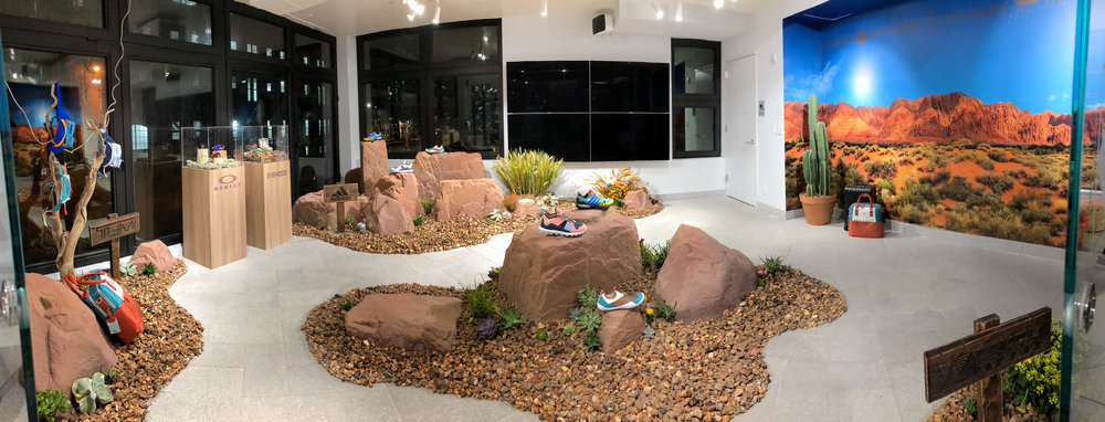 THE UTAH COLLECTION - Rocks, faux boulders, cactus and product are strategically displayed to give the room the Utah Landscape aesthetic.