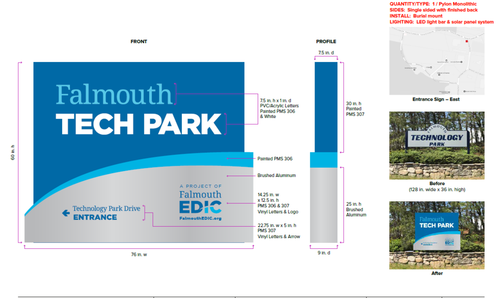 This is the proposed artwork for the main entrance sign at the Falmouth Technology Park..