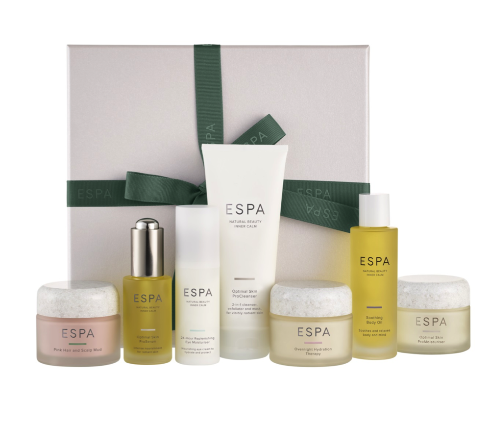 Heroes Collection - £120, worth £235 - saving £115If you're looking to really spoil someone this Christmas, look no further than our ESPA Heroes collection.Perfect for anyone in need of a little 'me time', The ESPA Heroes Collection features seven of our most popular and renowned formulas, and everything could you need for strong, bright and revitalised skin.This product comes beautifully presented in an ESPA gift box, finished with a hand-tied green ribbon.Collection Includes:- Optimal Skin ProCleanser 100ml- Optimal Skin ProSerum 30ml- Optimal Skin ProMoisturiser 55ml- Overnight Hydration Therapy 55ml- 24 Hour Replenishing Eye Moisturiser 25ml- Soothing Body Oil 50ml- Pink Hair and Scalp Mud 55ml