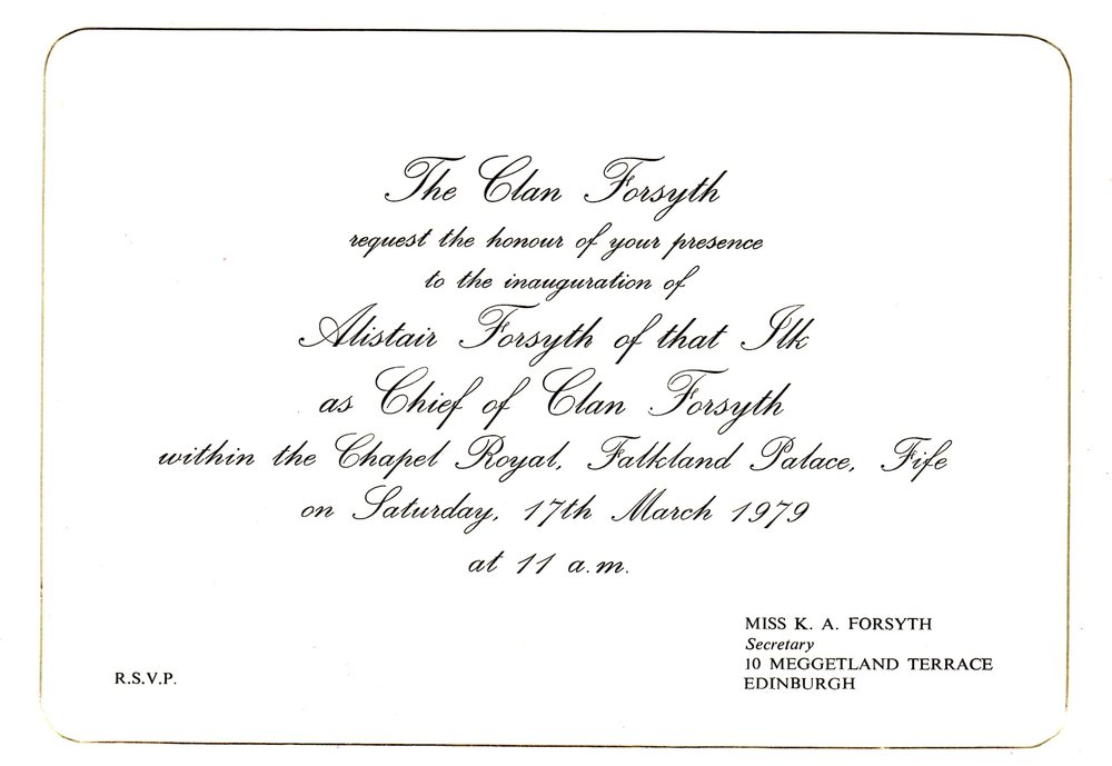 inauguration invitation of alistair forsytH