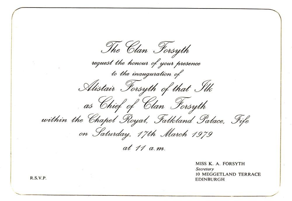 inauguration invitation of alistair forsytH