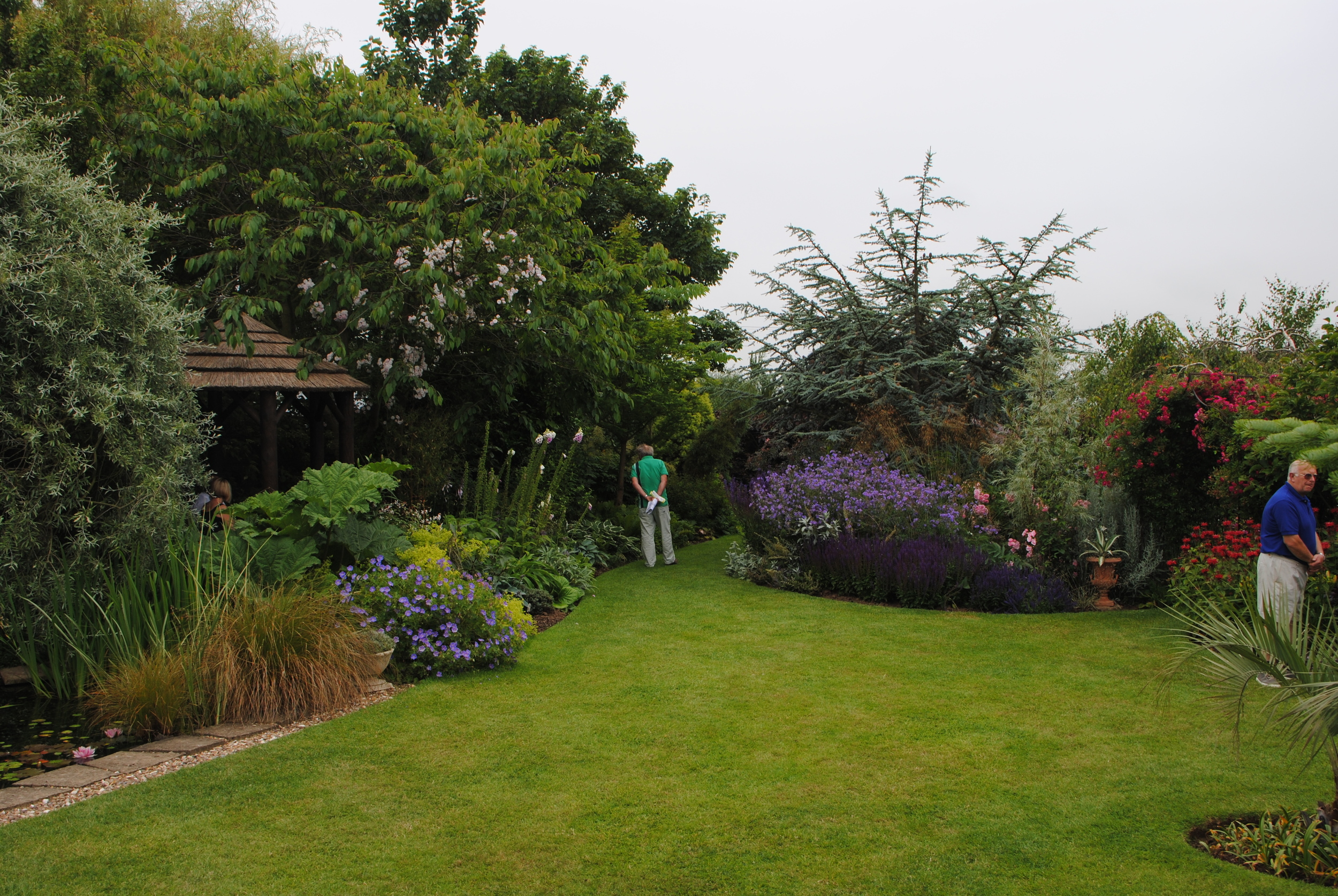 Matthew's back garden with several members of the public taking advantage of his open garden day.