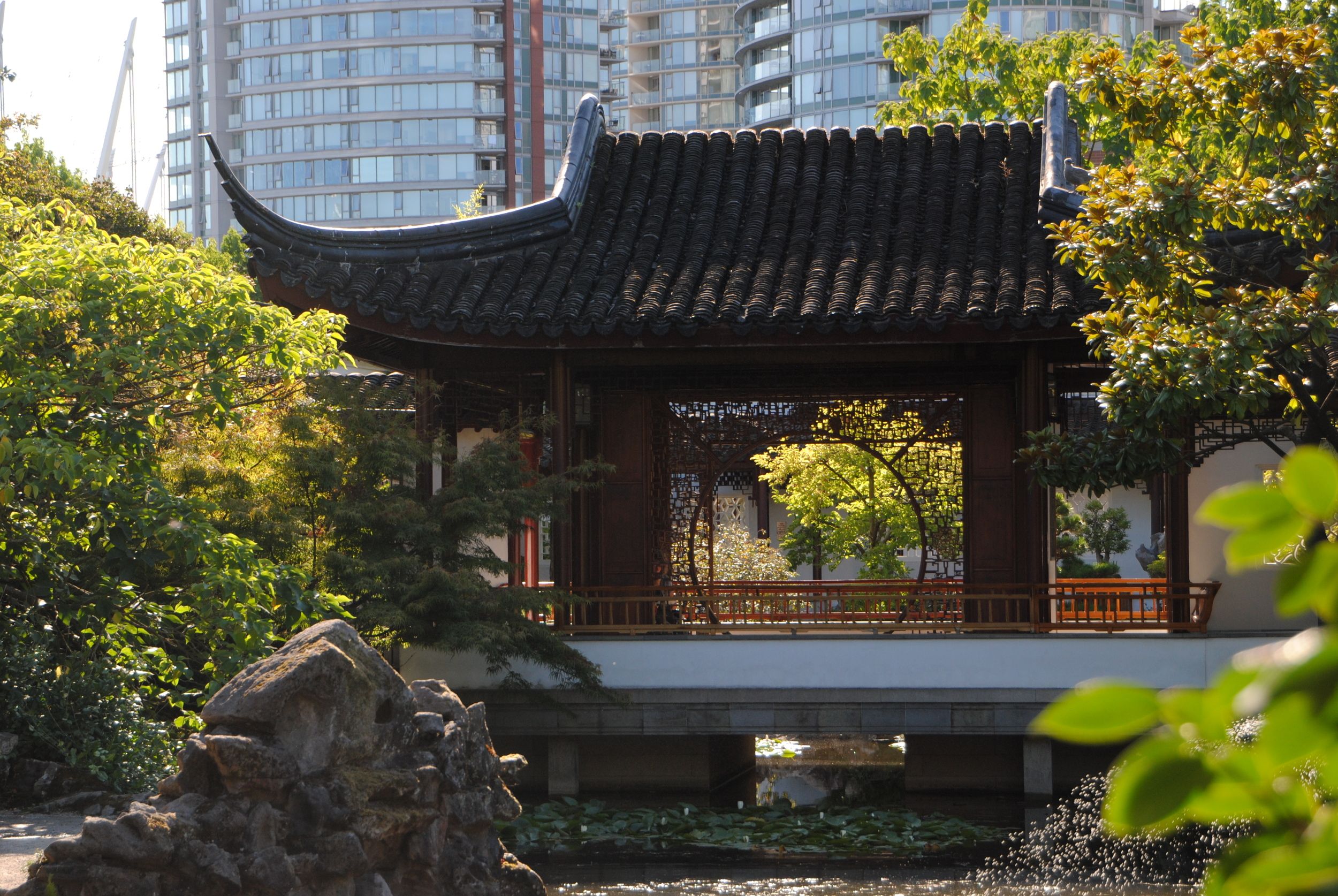 Dr. Sun Yat Sen Classical Chinese Garden is surrounded by the city.