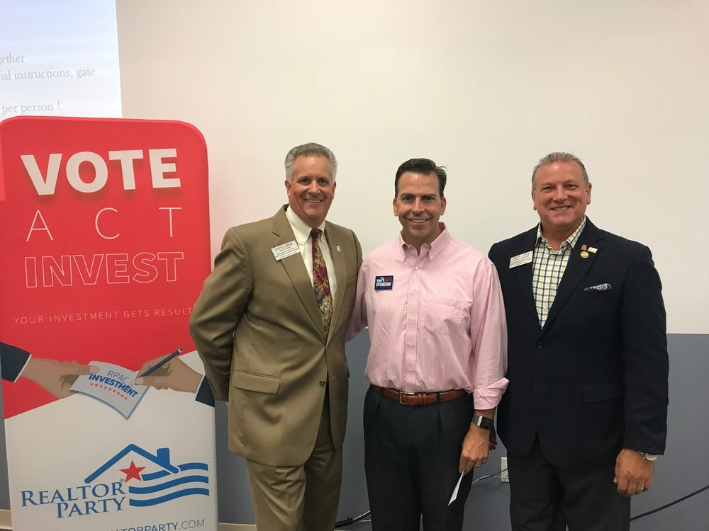 Left to Right: RAPB+GFLR Immediate Past President John Slivon, Candidate for Florida House District 83 Toby Overdorf, St. Lucie County Government Affairs Chair Anthony Gamabrdella
