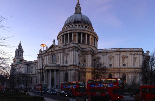 St. Paul's Cathedral, located at the top of Ludgate Hill (highest point in the city)