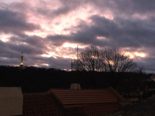View of the sunset sky from Mala Strana