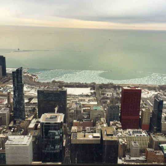 View of the city's colors from the observation deck at Willis Tower