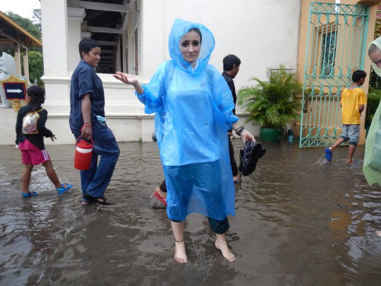 Haven't even been here 24 hours and it's already started downpouring! In the flooded complex of the Royal Palace