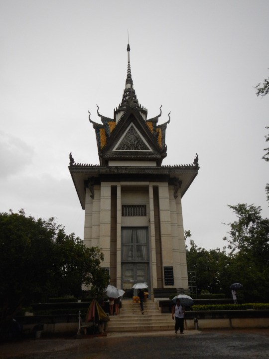 A memorial located in the entrance of the Killing Fields, housing the skulls of many of the thousands of victims that were brutally buried (sometimes alive) in the communal graves