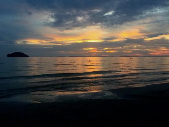 Sunset at Otres 2 beach, Sihanoukville