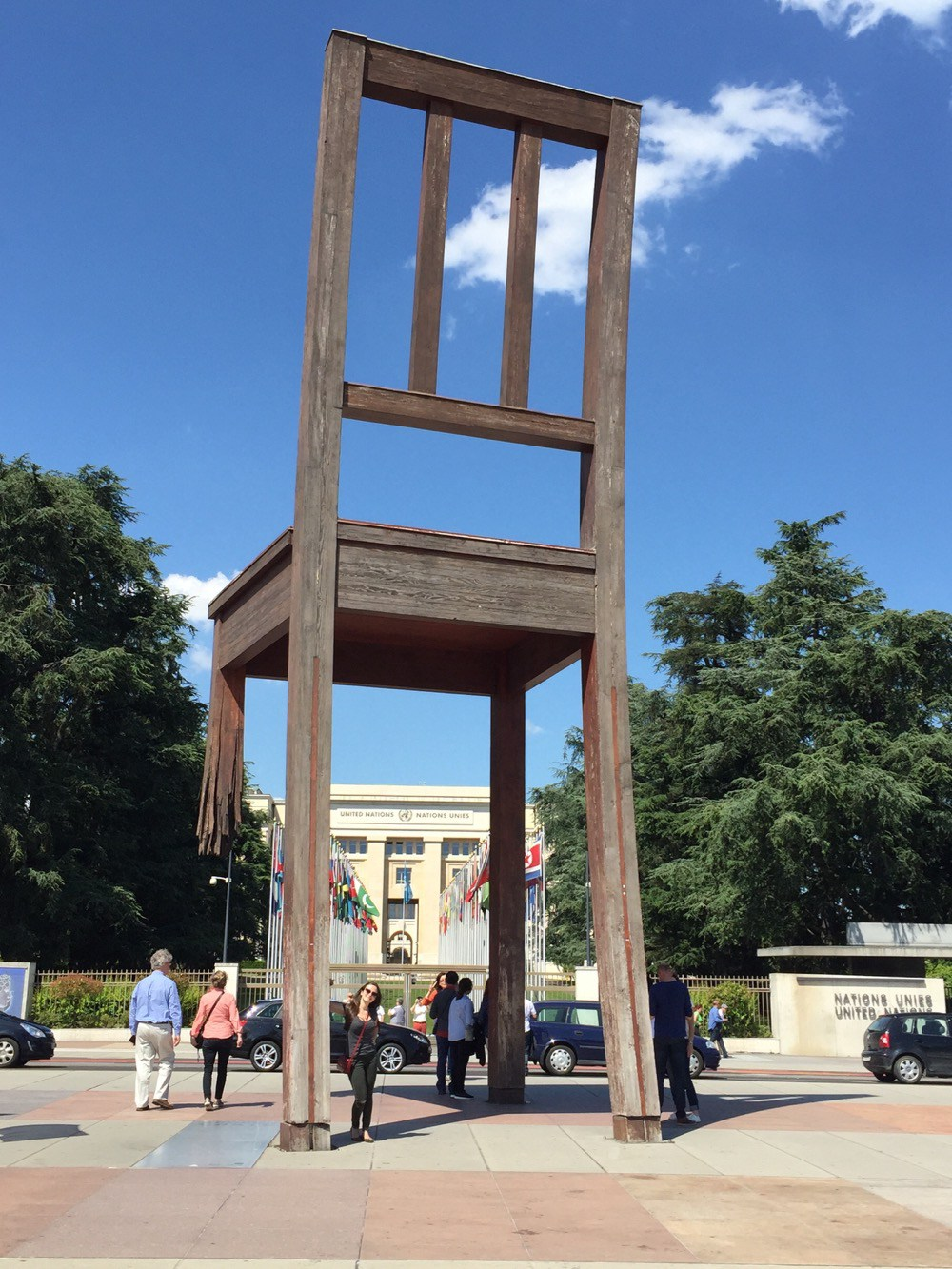 View of the giant Broken Chair, located in front of the UN