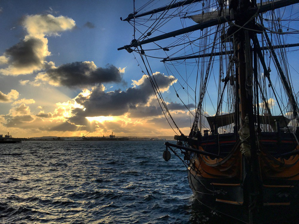 Sunset by Star of India, a famous San Diego ship