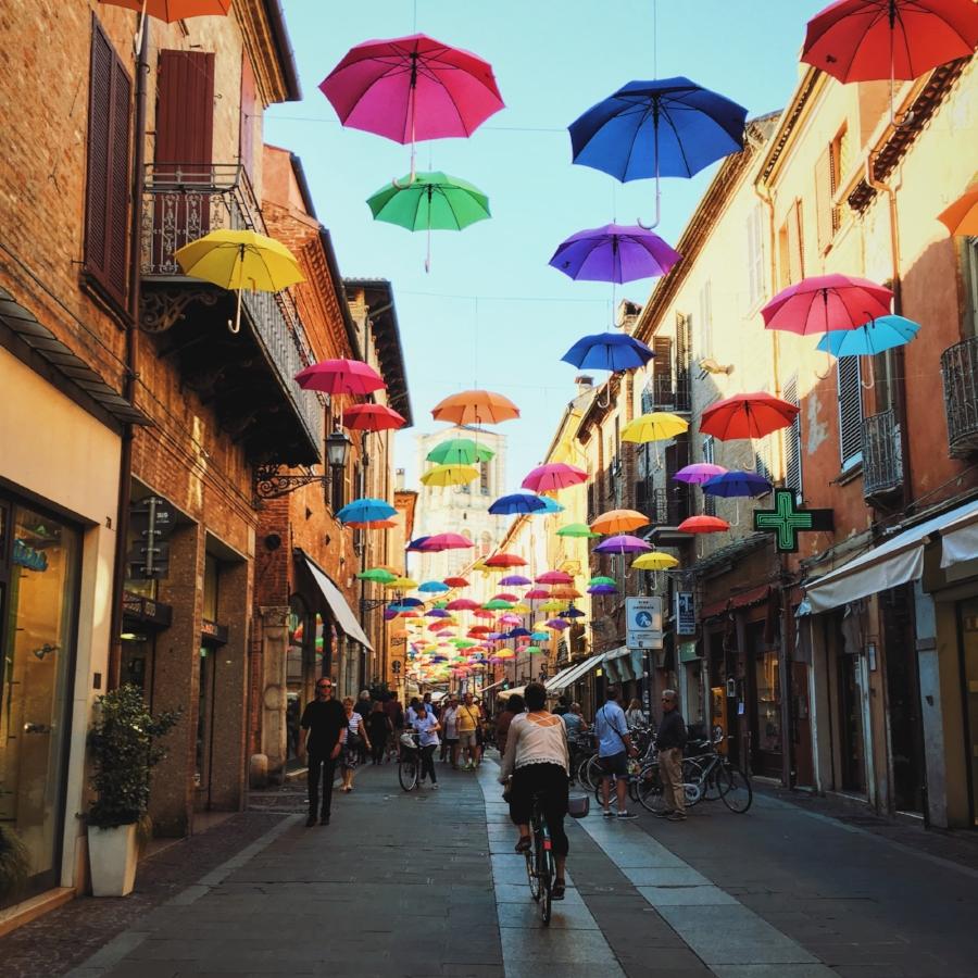 One of the many lovely streets of Ferrara, Italy.