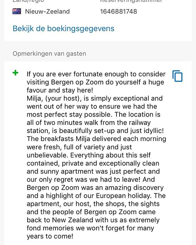 Yes 😀 weer een 10 op alle punten maar de persoonlijke review van de gast is het allergrootste en mooiste compliment😊#reviews#review#nz#newzealand#bookingcom #booking#guestloveus #bergenopzoom #indebuurtbergenopzoom #vvvbrabantsewal #vvvzeeland #lovezeeland #lovebrabant#vvv #bnb#bedandbreakfast #bedandbreakfastnl#bedenbreakfast #benb#logeren#nachtjeweg#weekendjeweg #debroodbakkers#dekoffiejongens#crusiothee